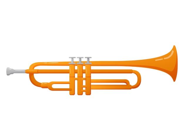 Strumento musicale a fiato a tromba per musica classica e jazz. Vettore Premium