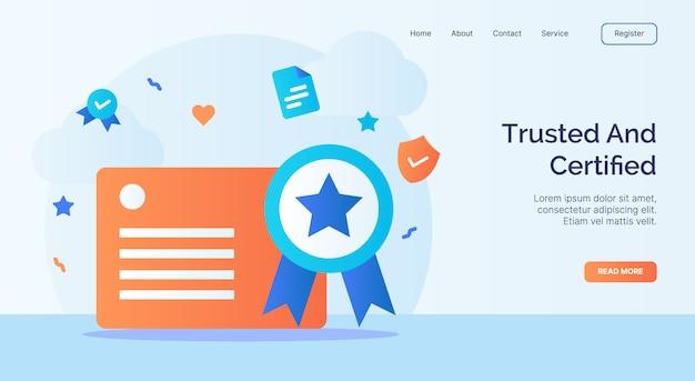 Campagna icona certificato di licenza affidabile e certificato per il modello di atterraggio della home page del sito web con stile cartoon. Vettore Premium