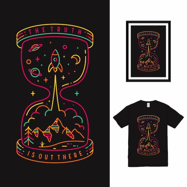 Il design della maglietta truth line art Vettore Premium