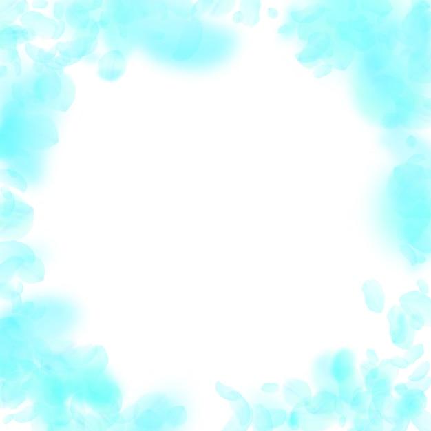 Petali di fiori turchesi che cadono. fantastica vignetta di fiori romantici. petalo volante su sfondo quadrato bianco. amore, concetto di romanticismo. invito a nozze creativo. Vettore Premium