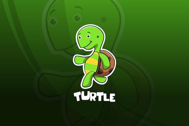 Design mascotte tartaruga esport. in esecuzione Vettore Premium