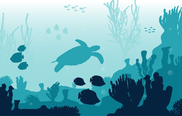 Illustrazione dell'oceano del mare subacqueo di marine animals coral reef del pesce della tartaruga Vettore Premium
