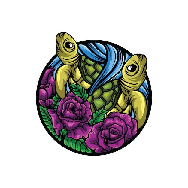 Logo fiore tartaruga Vettore Premium