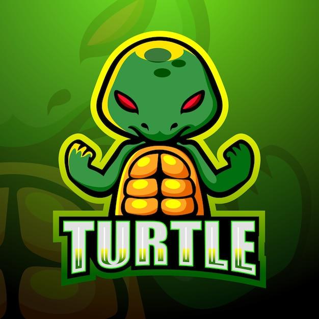 Tartaruga mascotte esport logo design Vettore Premium