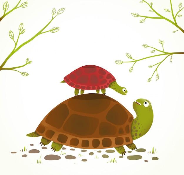 Fumetto animale infantile della madre e del bambino della tartaruga Vettore Premium