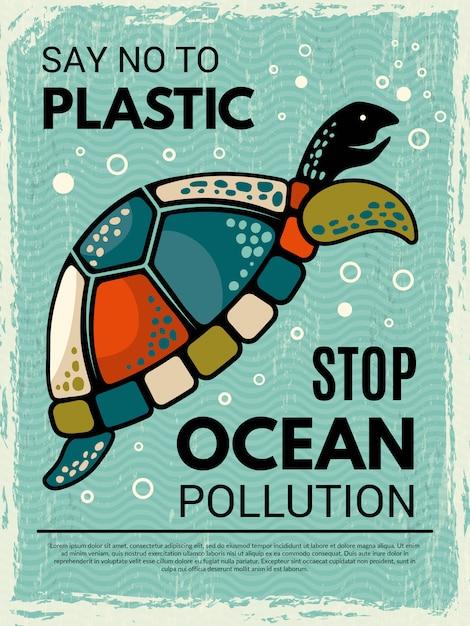 Poster di tartaruga. cartello di design creativo ornamentale con foto di tartaruga stilizzata oceano o animale di mare Vettore Premium