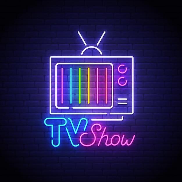 Insegna al neon di tv show Vettore Premium