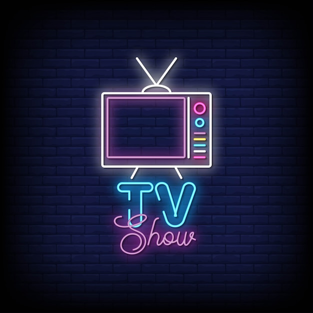Tv show neon sign stile di testo Vettore Premium