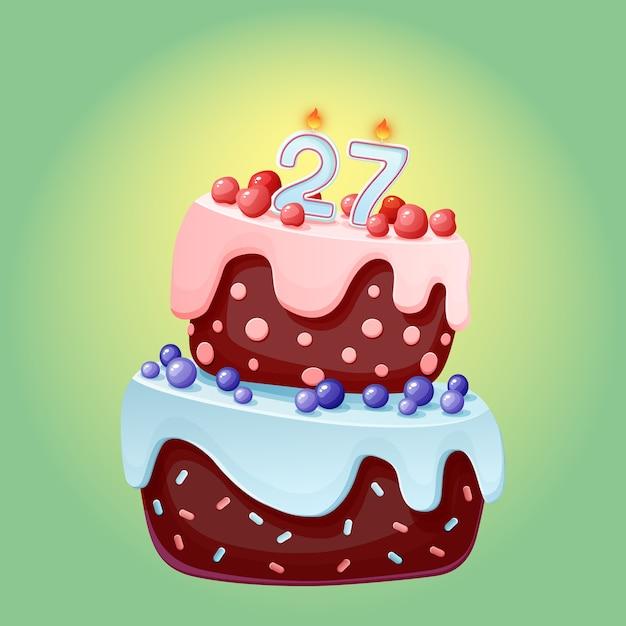 Ventisette anni compleanno torta festiva simpatico cartone animato con candela numero 27. biscotto al cioccolato con frutti di bosco, ciliegie e mirtilli. per feste, anniversari Vettore Premium
