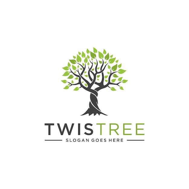 Concetto di albero contorto per loghi aziendali Vettore Premium