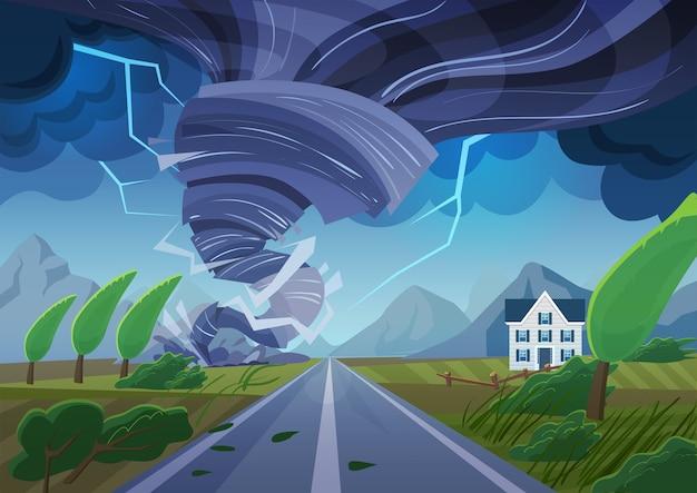 Tornado di torsione sulla strada che distrugge l'edificio civile. tempesta di uragano nel paesaggio di campagna. tromba marina di disastro naturale nel campo. Vettore Premium