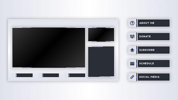 Collezione di pannelli twitch per modello di streaming live Vettore Premium
