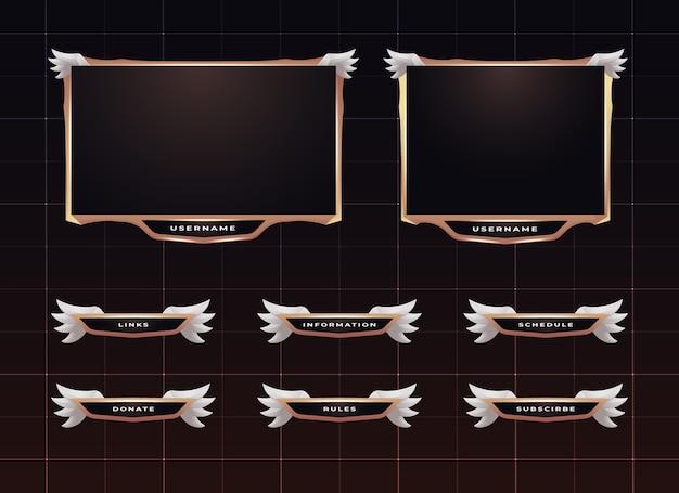 Set di design del pannello di streaming twitch Vettore Premium