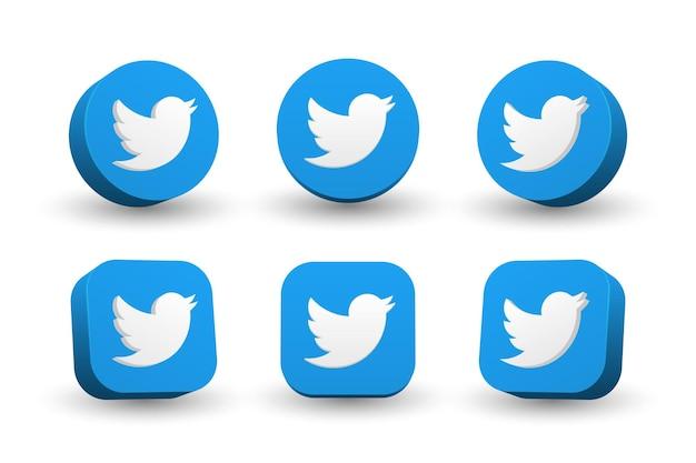 Collezione di icone logo twitter isolato su bianco Vettore Premium