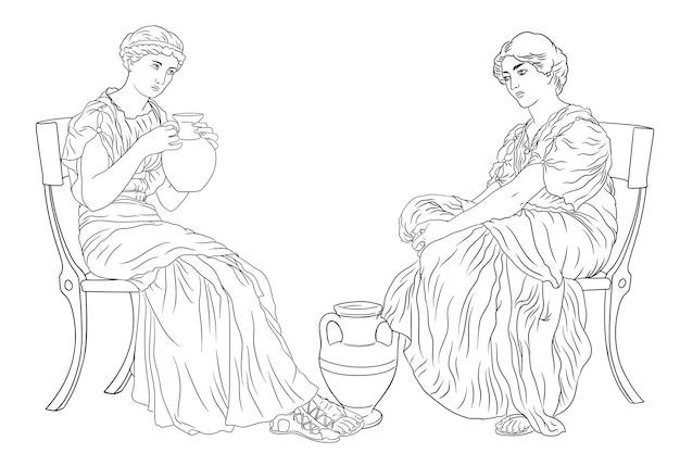 Due antiche donne greche si siede su una sedia e beve vino da una brocca figura isolata su sfondo bianco Vettore Premium