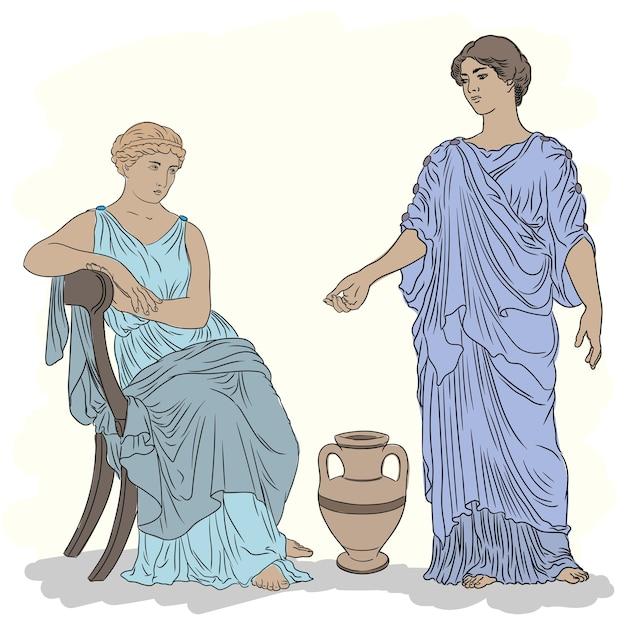 Due antiche donne greche in tunica parlano vicino a una brocca di vino. Vettore Premium
