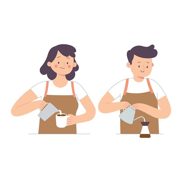 Due baristi hanno versato latte e caffè in una tazza Vettore Premium