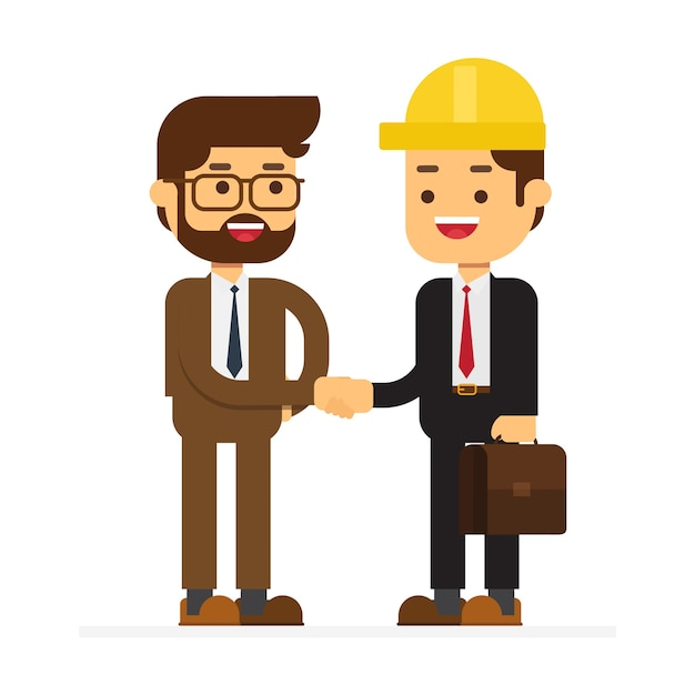 Due uomo d'affari parlando e agita la mano Vettore Premium