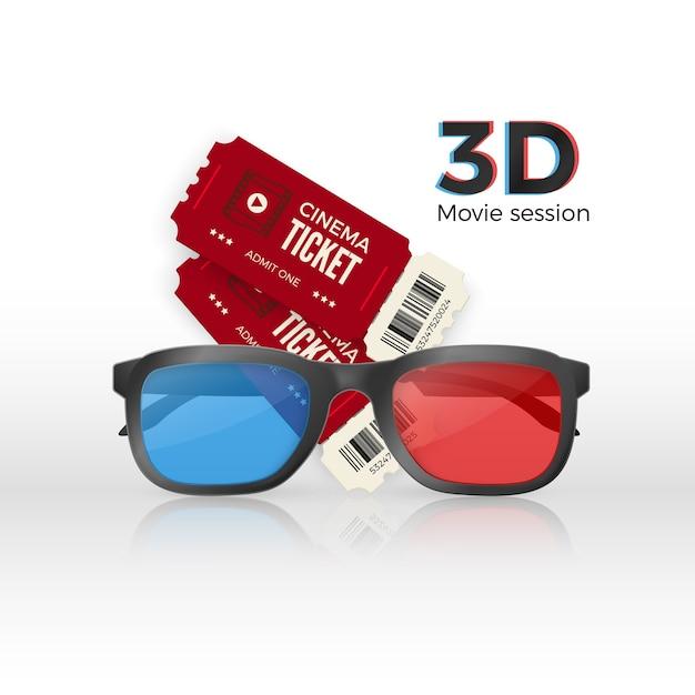 Due biglietti per il cinema e bicchieri di plastica 3d con vetro rosso e blu Vettore Premium
