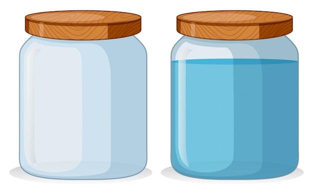 Due contenitori con e senza acqua Vettore Premium