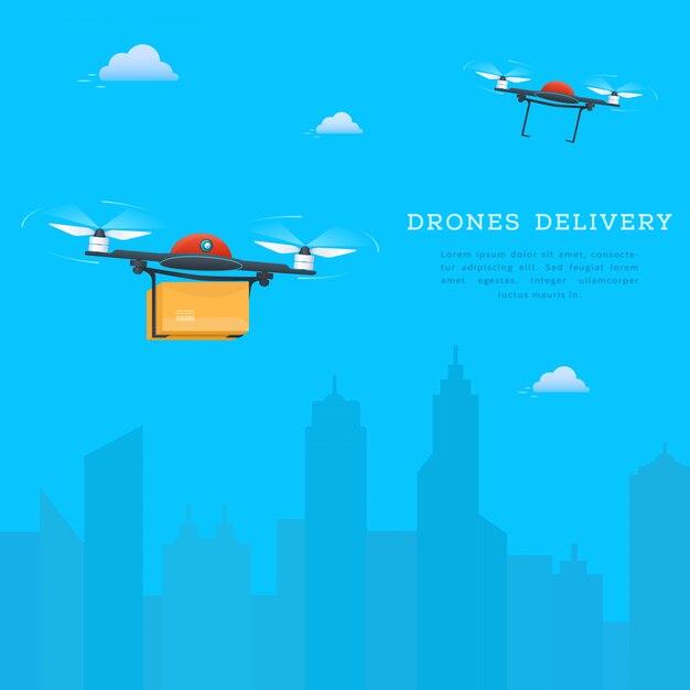 Due droni che volano sullo sfondo del paesaggio urbano Vettore Premium