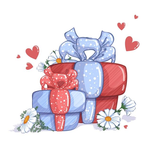 Due scatole regalo, decorate con fiocchi, fiori di camomilla bianca e cuori rossi. Vettore Premium