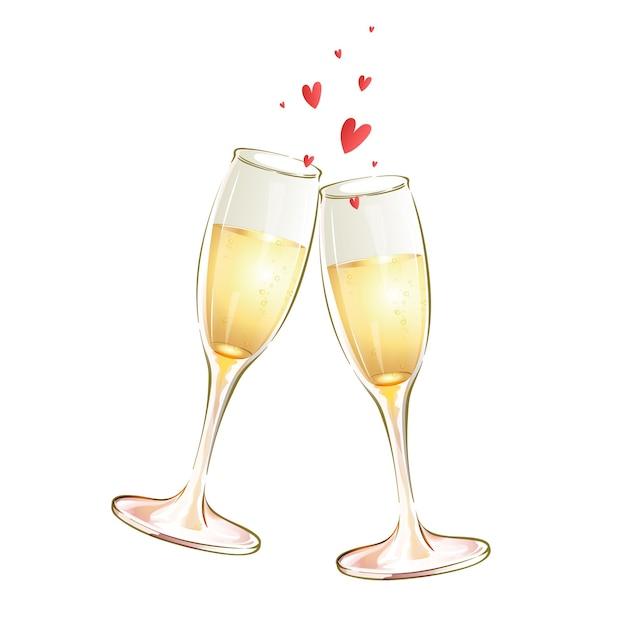 Due calici in vetro con vino bianco e cuori. brindisi festivo. Vettore Premium