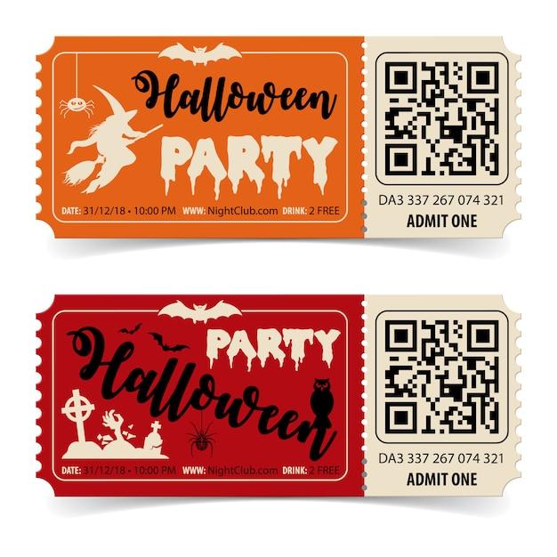 Due biglietti per la festa di halloween con scritte di streghe, pipistrelli, zombi e halloween. Vettore Premium