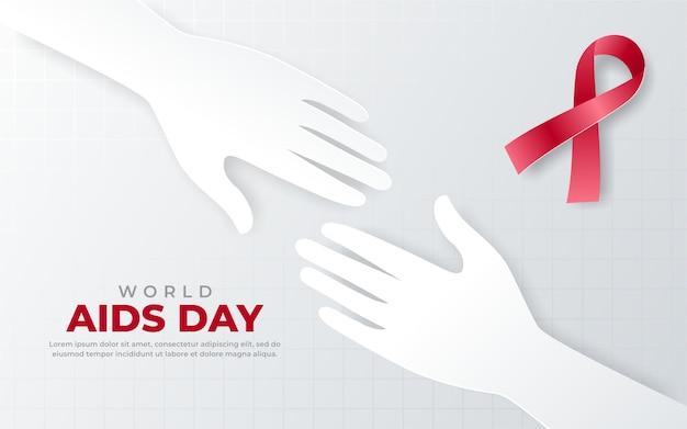 Due mani sullo sfondo del giorno dell'aids Vettore Premium