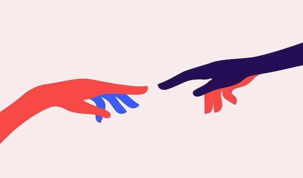 Due mani. la creazione di adamo. concetto di segno creazione di adamo. Vettore Premium