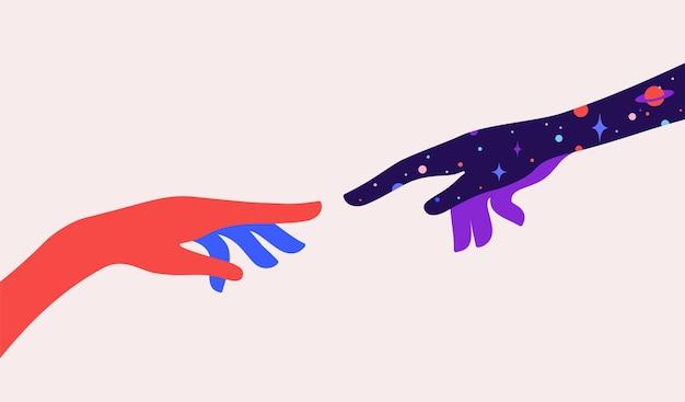 Due mani. la creazione di adamo. segno di concetto di design creazione di adamo. mani della siluetta dell'uomo e del dio, priorità bassa di sogno di notte stellata dell'universo. stile colorato di arte contemporanea. Vettore Premium