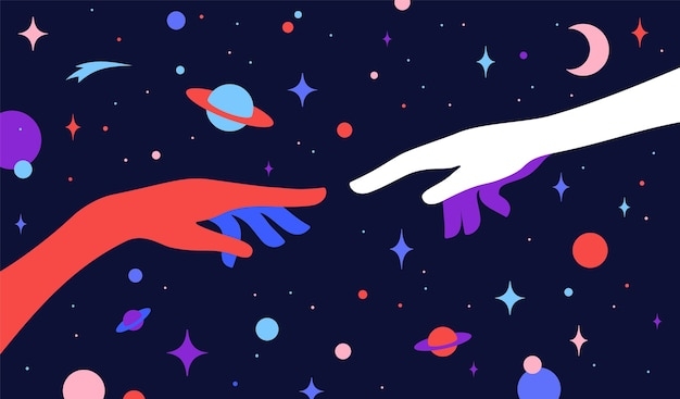Due mani. la creazione di adamo. mani di sagoma dell'uomo e di dio, sfondo stellato dell'universo. stile colorato di arte contemporanea. Vettore Premium