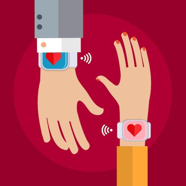 Due mani con un orologio da polso che mostra un cuore. concetto di collegamento di persone. design piatto Vettore Premium