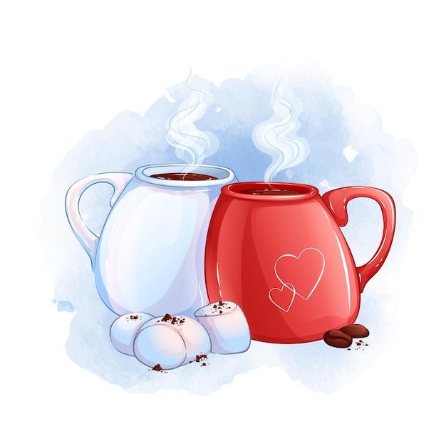 Due tazze con una bevanda calda. dessert con marshmallow bianchi e chicchi di caffè. sfondo acquerello. Vettore Premium