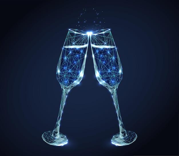 Due bicchieri di vino tintinnio al neon con champagne e bollicine. Vettore Premium