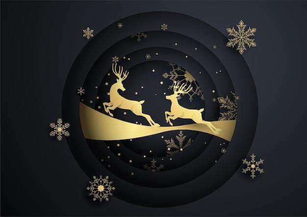 Due renne saltano in cerchio con fiocco di neve d'oro, buon natale, felice anno nuovo Vettore Premium