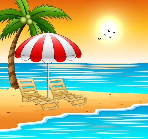 Due lettini e ombrelloni su una spiaggia con il tramonto Vettore Premium
