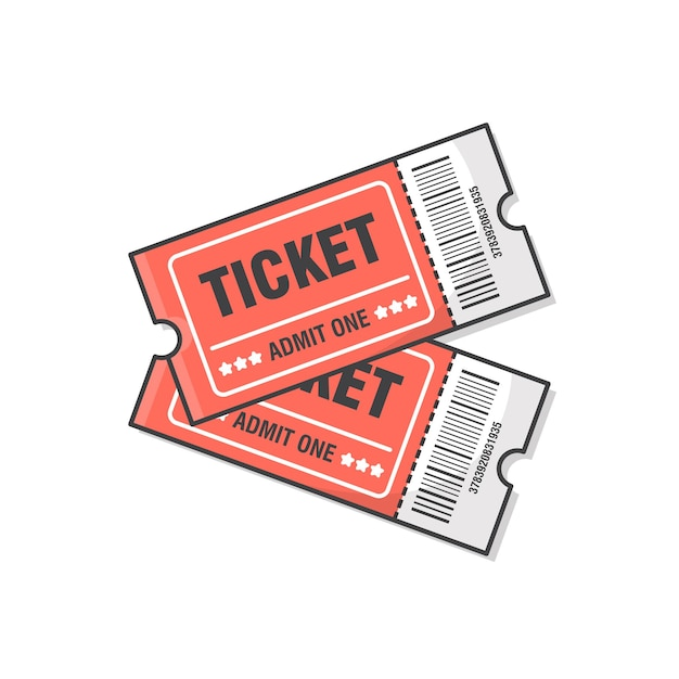 Due biglietti icona illustrazione. biglietto per l'ingresso all'evento Vettore Premium