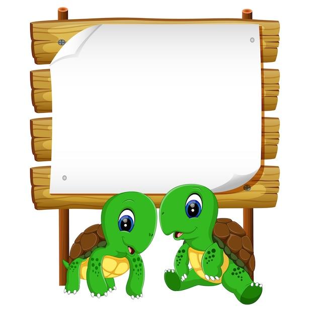 Due tartarughe con legno bianco Vettore Premium