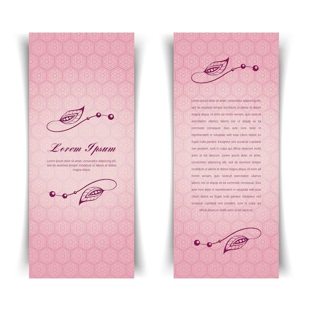 Carta rosa vintage due verticali con elementi floreali Vettore Premium
