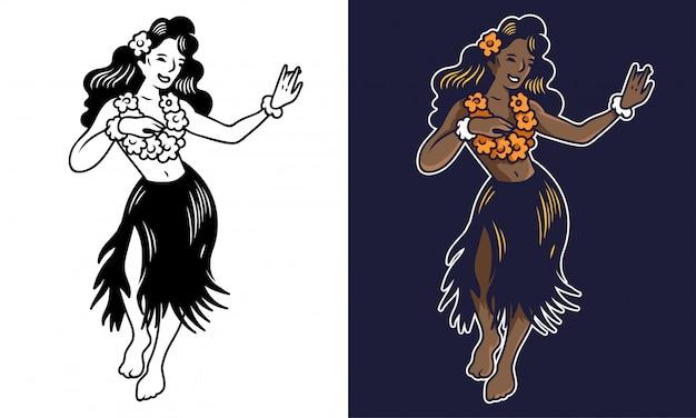 Ragazza di hula di due giovani sorrisi svegli che balla sulla festa. Vettore Premium