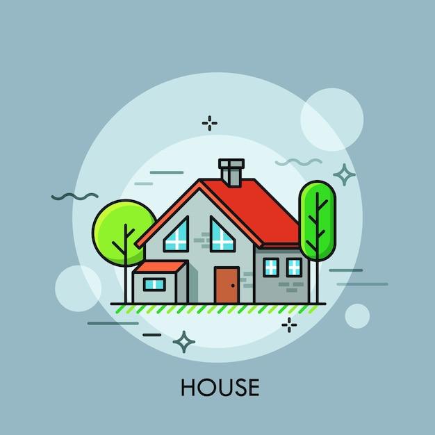 Casa a due piani con tetto rosso, circondata da alberi verdi concetto di abitazioni edilizia residenziale immobiliare Vettore Premium