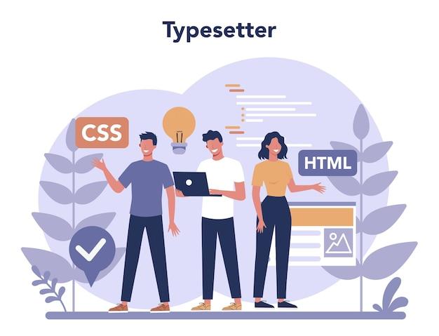 Concetto di dattilografo. costruzione di siti web. processo di creazione del sito web, codifica, programmazione, costruzione dell'interfaccia e creazione di contenuti. Vettore Premium