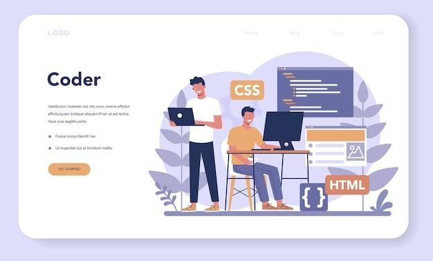 Banner web o pagina di destinazione del dattilografo. costruzione di siti web. processo di creazione del sito web, codifica, programmazione, costruzione dell'interfaccia e creazione di contenuti. Vettore Premium