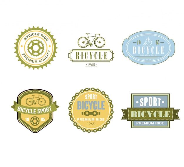 Set di design etichette a tema biciclette tipografiche - negozio di biciclette Vettore Premium