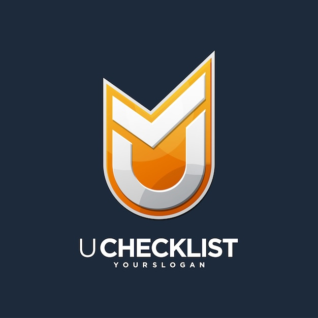 Logo di controllo del design della lista di controllo u. Vettore Premium