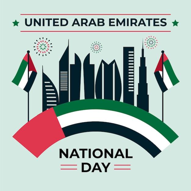 Design piatto per la celebrazione della giornata nazionale degli emirati arabi uniti Vettore Premium