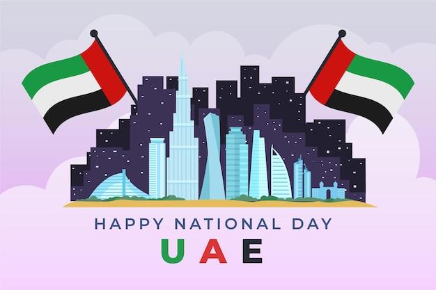 Design piatto celebrazione della giornata nazionale degli emirati arabi uniti Vettore Premium