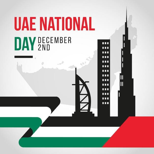 Celebrazione della giornata nazionale degli emirati arabi uniti piatta Vettore Premium