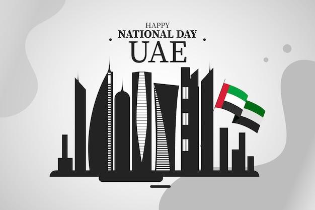 Illustrazione di giorno nazionale degli emirati arabi uniti con edifici Vettore Premium